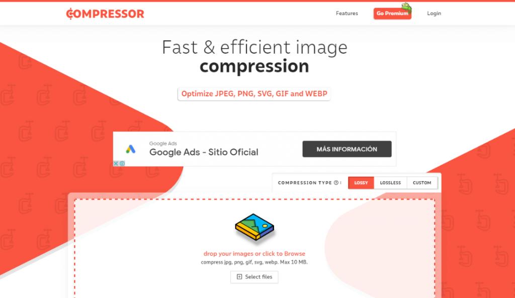 Compressor.io para comprimir imagenes