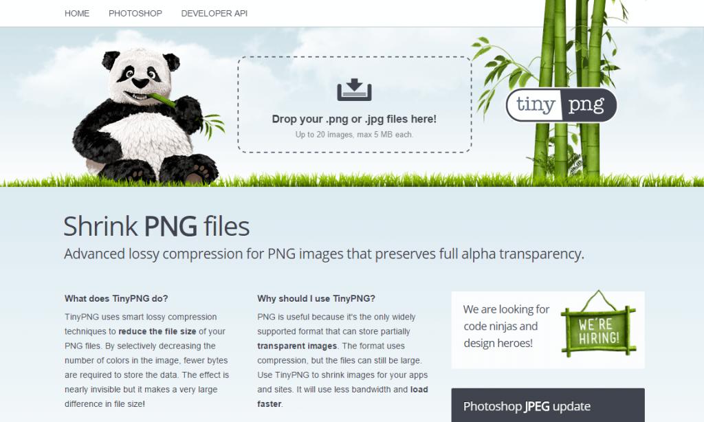 TinyPNG aplicacion gratuita para comprimir imagenes