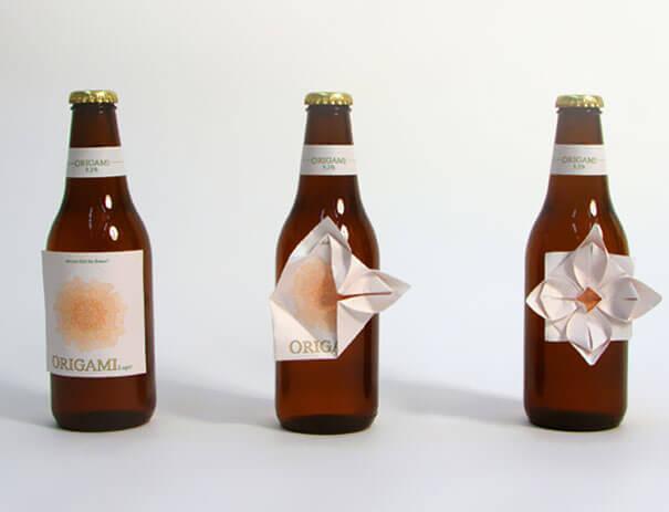 cerveza origami botella