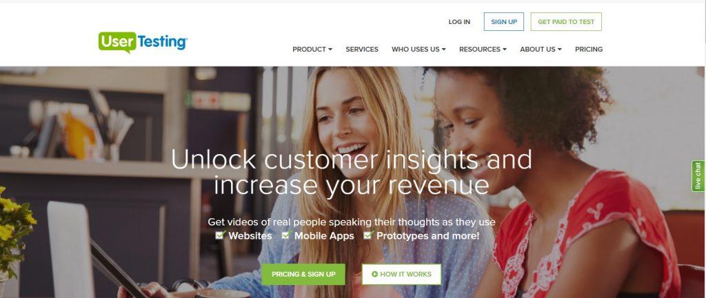 UserTesting website para experiencia de usuario UX