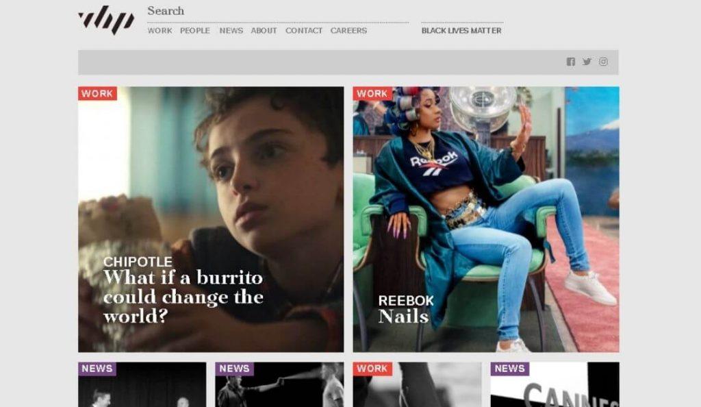 Venables Bell & Partners sitio web con experiencia de usuario UX