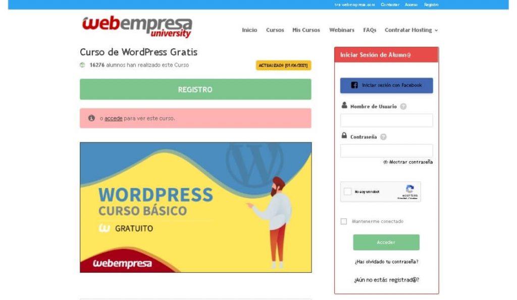 Web empresa University cursos de wordpress gratis